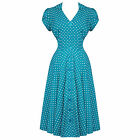 Hell Bunny Harriet Teal Blue Dot 40s Victory WW2 Tea Party Dress