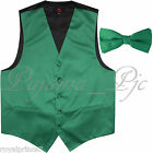 Emerald Green Solid Tuxedo Suit Vest Waistcoat and Straight Cut Bow tie Wedding for sale  Shipping to Nigeria