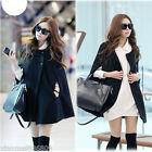 New Ladies Black Batwing Cape Wool Poncho Jacket Winter Warm Cloak Coat