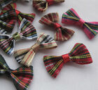 20/60/300pcs tartan plaid Gingham Ribbon Bows Flower Appliques Lots Upick E20