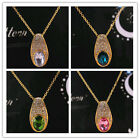 In 6 Color Womens 14k GoldFilled Austrian Crystal Pendant Chain Necklace Jewelry