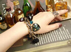 Occident Retro style Peacock, peach heart beads multielement charms bracelet
