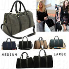 DESIGNER FAUX SUEDE BOSTON BAG Women's Large Shoulder Travel Crossbody Handbag
