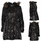 WOMENS PARKA JACKET PARKER COAT PADDED PUFFER LONG BELTED QUILTED FUR HOODED