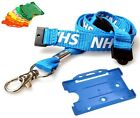 NHS Metal Lobster Clip Double Breakaway Lanyard with Landscape ID Card Holders .