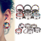 3mm-14mm Crystal Steel Double Flared Ear Stretcher Flesh Tunnel Plugs Piercing
