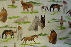 HORSES VINYL OILCLOTH WIPEABLE PVC WIPE CLEAN TABLE CLOTH CO click for sizes