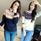 NEW Cute Women Long Sleeve Casual Knit Sweater Crew Neck Pullover Tops Knitwear
