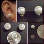MAGNETIC Round 11 mm White Faux Pearl Stud Clip-on Fake Fun Earrings Choose 1 pr