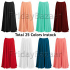 2XL Women Lady Pleated Chiffon Retro Long Skirt Full Circle Skirt | 25 Colors