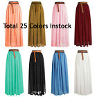 Size 3XL Women Lady Chiffon Pleated Retro Long Maxi Dress Elastic Waist Skirt