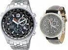 Citizen Eco-Drive Sapphire Chrono Japan World Time Watch + Leather AT0365-56E