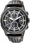 Citizen Eco-Drive Leather Black Stealth Chronograph 100m Watch CA0375-00E