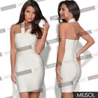 Womens Halter Neck Tight Party Bodycon Short Mini Bandage Dresses Evening Skrit
