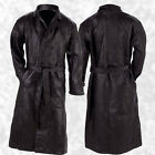 Mens Black Genuine Leather Lined Button Front Trench Coat Full Length Duster