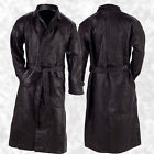 Mens Lined Black Leather Button Front Trench Over Coat Full Length Duster Jacket