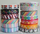 "Mixed Lot 13 yards 7/8"" 22mm Sister Wave Dots Printed Grosgrain Ribbon KK10"