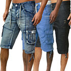 Mens New Designer Eto Jeans Shorts Combats Denim 3 Stylish Holiday Cargo Joggers