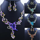 CHIC Vogue Butterfly Flower Rhinestone Pendant Necklace Earrings Jewelry Set NEW