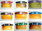 NEW-HANDCRAFTED ABALONE SHELL ALPACA SILVER HAIR COMB-FLOWER, BUTTERFLY,  TULIP