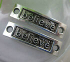 "wholesale: 15/30pcs Retro Style delicate ""believe""alloy Charms connector 35x10mm"