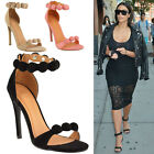 Ladies Womens Mid High Heel Peep Toe Ankle Strappy Party Prom Sandals Shoes Size