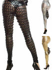 Women's Black Sexy Punk Fish Scale Pierced Holes Footless Legging Skinny Pants