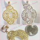CLIP ON Rhinestone Filigree Dangle 2 inch Drop Fashion Earrings Gold Silver USA