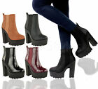 Ladies Womens Chunky Cleated Sole High Heel Platform Goth Ankle Boots Shoes Size