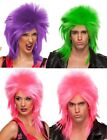 Glam Punk Rocker Neon Spike Heavy Metal Rave EDC Purple Green Pink Costume Wig