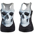 Femmes Slim Graphic Print Tank Top Blouse Gothic Singlet Vest Sleeveless T Shirt