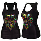Womens Digital Print Tank Tops Blouse Gothic Punk Vest Sleeveless TEE Clubwear
