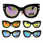 Eye Dentification Womens Punk Metal Stud Retro Thick Plastic Cat Eye Sunglasses
