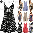 Womens Ladies Strappy V Neck Polka Dot 50's Rockabilly Swing Skater Dress Top