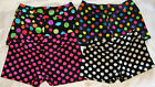 "CLEARANCE!! GYM DANCE SHORTS POLKA DOTS WHITE PINK MULTI 1"" INSEAM YOUTH SIZES"