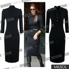 Black Women's Stand-Up Collar Business Workwear Epaulettes Cocktail Pencil Dress