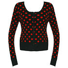 Black Red Knitted Vintage Polka Dot Rockabilly Cardigan Jumper Top