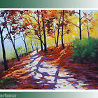AUTUMN SHADOWS RED YELLOW FALL TREES FIGURE on ROAD Vibrant IMPRESSIONIST