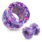 Ear Tunnel Plug ONE surgical steel space dust magical glitter pop saddle plug