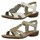 Ladies Remonte Sling Back Leather Velcro Sandals With Beading - R3655