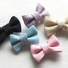 10/30/100/150PCS Fabric Ribbon Bows Flowers W/ Shinning Dots Appliques Lots A437