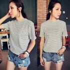 Women's Striped Blouse Tops Soft Cotton Short Sleeve T-shirts Casual Shirts M79