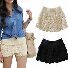 CHIC Fashion Sexy Mini Lace Tiered Short Skirt Under Safety Pants Shorts Pants