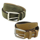 Timberland Small Mens Boys Plain Leather Mans Belt Brown Green Buckle (M1311 U3)