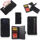 2 in 1 Separable Wallet Flip Leather Case zipper Cover For Samsung Galaxy S6