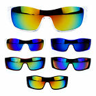 Mens Color Mirror Lens Futuristic Robot Sport Shield Warp Sunglasses