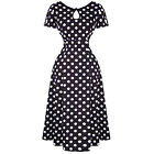 Womens Black Polka Dot 1940s Wartime Victory Vintage Pinup Party Tea Dress