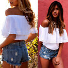 New Sexy Women Summer White Open Shoulder Casual Tops Loose Blouse Lace Shirt