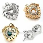 Heart Crystal Cage Harmony Ball Charm Pendant Chime Bead Fit Necklace DIY