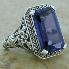 8 CT LAB ALEXANDRITE 925 STERLING SILVER ANTIQUE ART DECO STYLE FILIGREE RING,#1